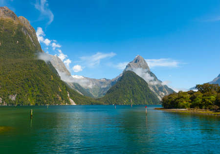 fiordland: Famous Mitre Peak rising from the Milford Sound fiord. Fiordland national park, New Zealand