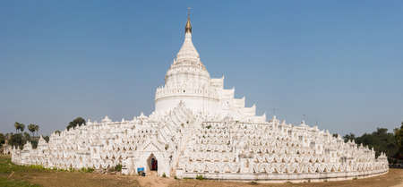 bank western: Beautiful white Hsinbyume Pagoda in Mingun. Panoramic photo. Western bank of Irrawaddy river, Myanmar