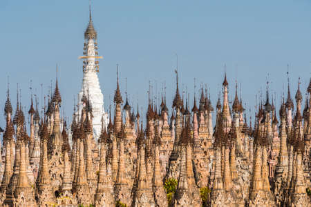 bell tower: Kakku pagodas are nearly 2500 beautiful stone stupas hidden in a remote area of Myanmar not very far from the lake Inle. Stock Photo