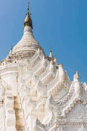 bank western: Detail of the beautiful white Hsinbyume Pagoda in Mingun, Western bank of Irrawaddy river, Myanmar Stock Photo