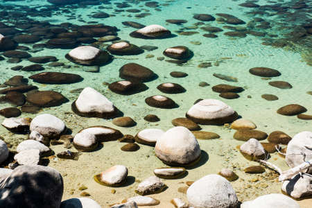 sand harbor: Beautiful boulders and crystal clear water of the lake Tahoe. Hidden Beach, Lake Tahoe - Nevada, USA