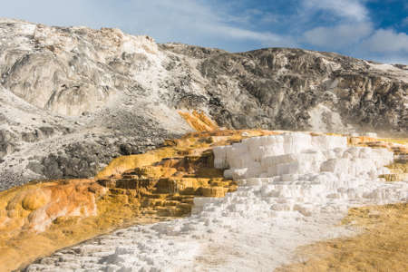 hot springs: Vivid thermal terraces rock formations in Mammoth Hot Springs, Yellowstone National Park. USA