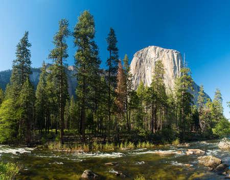 granite park: El capitan granite rock seen from the Yosemite Valley across the Merced river, Yosemite National Park, USA