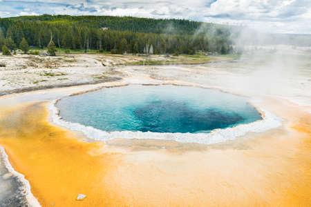 faithful: Beautiful Crested Pool in Upper Geyser Basin (Old Faithful Area). Yellowstone National Park, Wyoming. USA Stock Photo