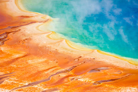 Deatiled photo of Grand Prismatic Spring from above. Yellowstone National Park, Wyoming, USA