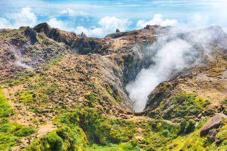 active volcano: Steam rising from the crater La Soufriere volcano the highest mountain in Guadeloupe, French department in Caribbean