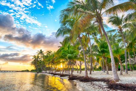 Coucher de soleil sur la plage de Anse Champagne à Saint Francois, Guadeloupe, Caraïbes