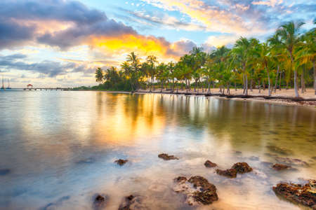 guadeloupe: Sunset over Anse Champagne beach in Saint Francois, Guadeloupe, Caribbean
