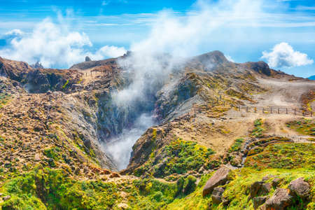 Steam rising from the crater La Soufriere volcano the highest mountain in Guadeloupe, French department in Caribbean