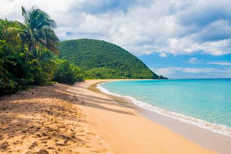 Grote strand van Grand Anse nabije dorp Deshaies, Guadeloupe, het Caribisch gebied