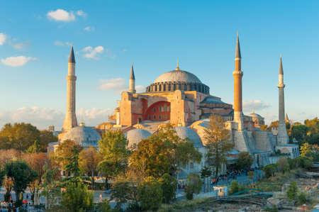 Hagia Sophia in de avond, Istanbul, Turkije Stockfoto