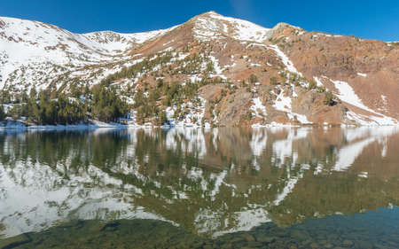 sierra nevada: Beautiful vivid reflection at Big Virginia Lake, Eastern Sierra Nevada. California, USA.