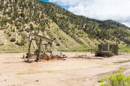 drilling well: Oil drilling well, northern Utah. USA