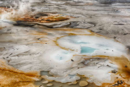opaque: Steaming opaque thermal pools at Norris Geyser Basin. Yellowstone National Park, Wyoming - USA