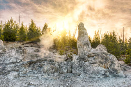 dormant: Siliceous spire at sunset time seen at Monument Geyser Basin. Yellowstone National Park, Wyoming - USA