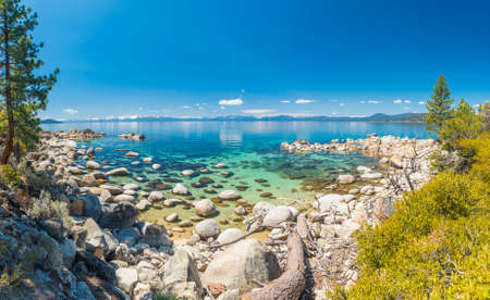 sand harbor: Beautiful boulders and crystal clear water of the lake Tahoe. Hidden Beach, Lake Tahoe - Nevada, USA. Panorama