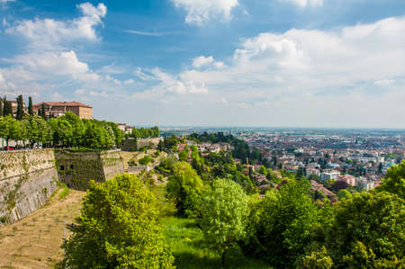 View at Lower Town - Citta Bassa - of Bergamo, beautiful ancient town in Lombardy, Italy