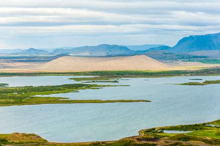 Dramatic volcanic crater Hverfjall near the lake Myvatn, Iceland Stock Photo