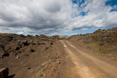 rough road: Rough empty dirt road in Icelandic volcanic inland is accesible just by 4x4 vehicles Stock Photo