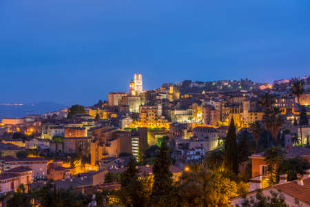 Old town of Grasse at night, town in Provence famous for its perfume industry, France Stock Photo