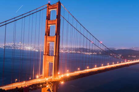 Night view at illuminated Golden Gate Bridge which spans Golden Gate strait at San Francisco Bay. California, USA Stock Photo