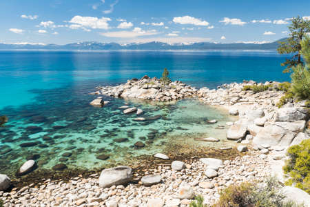 crystal clear: Beautiful boulders and crystal clear water of the lake Tahoe. Hidden Beach, Lake Tahoe - Nevada, USA