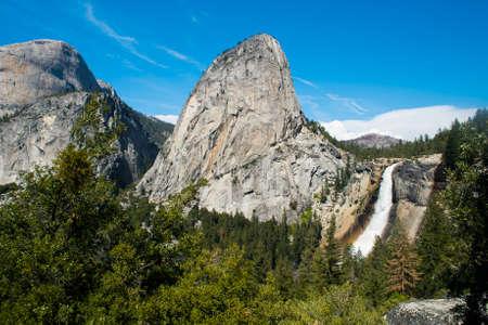 john muir trail: Beautiful Nevada Falls is located on Merced river and under mighty Liberty Dome grantite cap. Yosemite National Park, California, USA Stock Photo
