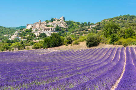 Small but beautiful old town of Simiane la Rotonde with a lavender field in front of it, Provence - France Standard-Bild