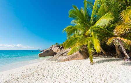 Beautiful and a famous beach Anse Lazio with granite boulders, Praslin island, Seychelles. Stock Photo