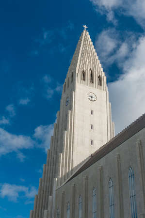 lutheran: Detail of Hallgrimskirkja lutheran cathedral in Reykjavik, the largest church on Iceland