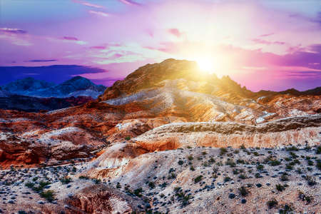 Amazing colors and shape of the rocks in Valley of Fire State Park at sunrise, Nevada, USA Stock Photo