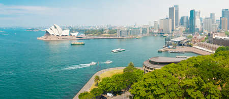 Sydney downtown and port from above. Panoramic photo Editorial