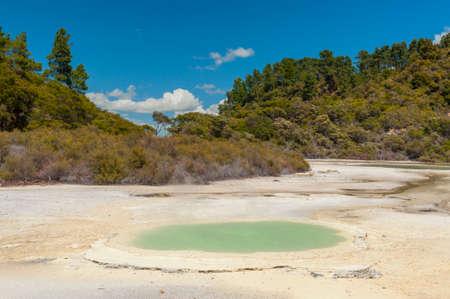 Beautiful turquoise lake at Wai-O-Tapu geothermal area, New Zealand