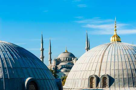 Blue Mosque (Sultan Ahmet Mosque) and cupolas seen from Hagia Sophia Stok Fotoğraf