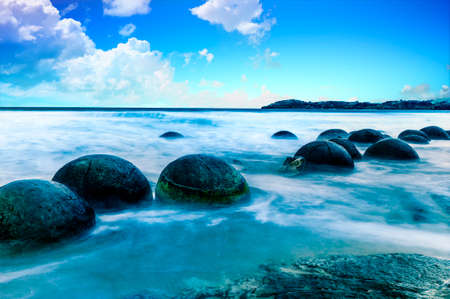 Spheric Moeraki Boulders on the Koekohe beach, Eastern coast of New Zealand.