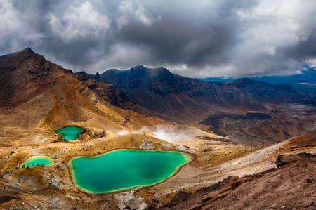 View at beautiful Emerald lakes on Tongariro Crossing track, Tongariro National Park, New Zealand Фото со стока