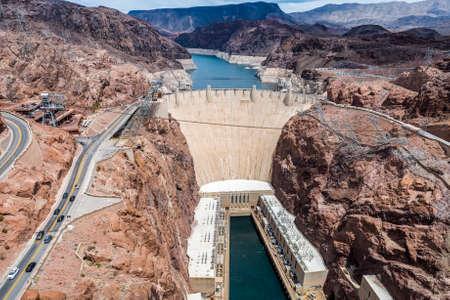 Famous Hoover Dam seen from Mike O'Callaghan�Pat Tillman Memorial Bridge. Nevada, USA Stock Photo - 85628466