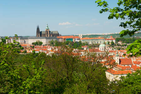 Beautiful view at Prague, capital city of the Czech Republic with castle and roofs of Mala Strana