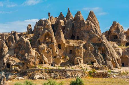 Ancient homes dug into the mountains, Cappadocia, Turkey