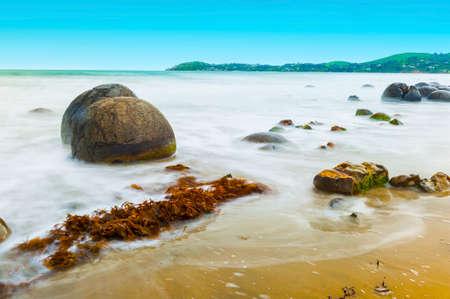 ニュージーランドの東海岸コエコヘビーチにモエラキの岩。