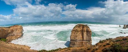 Twelve Apostles, natural landmark near the Great Ocean Road. Victoria, Australia. Panoramic photo
