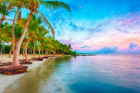 Coucher de soleil sur la plage Anse Champagne à Saint Francois, Guadeloupe, Caraïbes