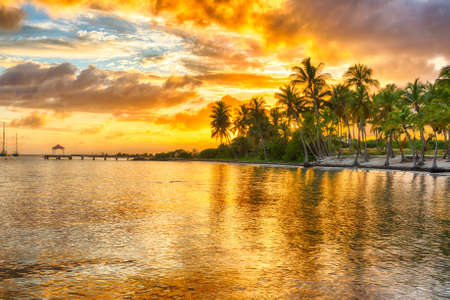 Sunset over Anse Champagne beach in Saint Francois, Guadeloupe, Caribbean Stock Photo