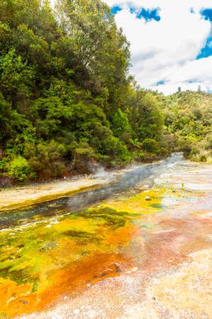 Steaming thermal river. Rotorua, Waimangu geothermal area, New Zealand