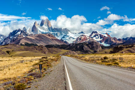 Road and mountain panorama with Fitz Roy peak at Los Glaciares National Park, Argentina