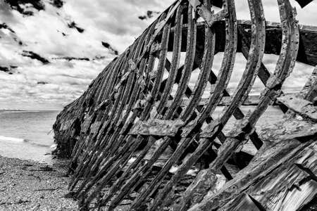 Detail of a wreck of Ambassador tea clipper build in 19th century in United Kingdom is since 1899 beached near Estancia San Gregorio, Chile
