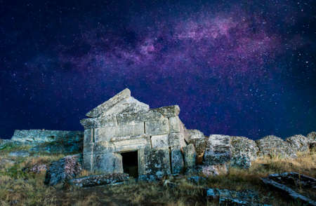Ancient Roman ruins of Hierapolis, Pamukkale under the stars of the Milky Way- Turkey