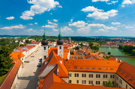 Aerial view of church and main square of Zachary from Hradec in Telc, Czech Republic 写真素材