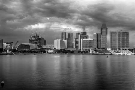 Evening photo of Singapore Downtown near city marina, black and white