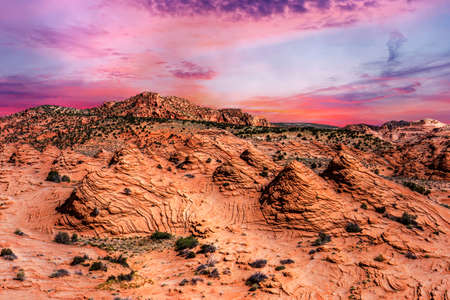 Vivid sandstone formation in Coyote Buttes North. These formations could be seen in Paria Canyon-Vermilion Cliffs Wilderness between the towns of Kanab, Utah and Page, Arizona. USA